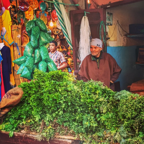 Mint salesman in a Marrakech market.